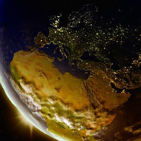 Coucher du soleil au-dessus de la région EMEA vu de l'orbite terrestre dans l'espace. Illustration 3D avec une planète détaillée. Banque d'images - 80620862