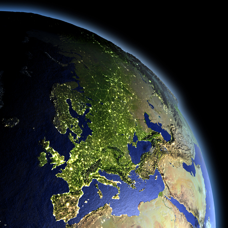 city lights: Europe at dawn from Earths orbit in space. 3D illustration with detailed planet surface.