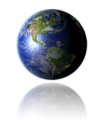 orbiting: Model of planet Earth facing Americas hovering above reflective bright surface. 3D illustration isolated on white background. Stock Photo