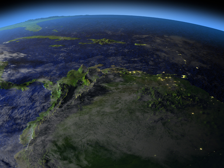 North of South America at night as seen from Earths orbit in space. 3D illustration with detailed planet surface.
