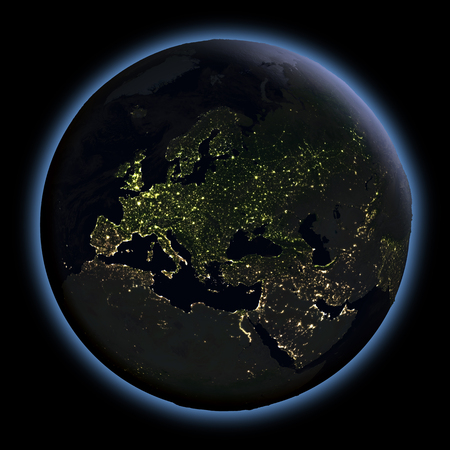 city lights: Europe at night from Earths orbit in space. 3D illustration with detailed planet surface. Elements of this image furnished by NASA.