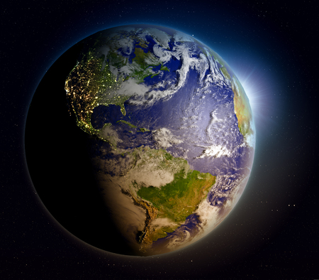 orbiting: Sunrise above planet Earth facing Americas. 3D illustration with extremely detailed planet surface.
