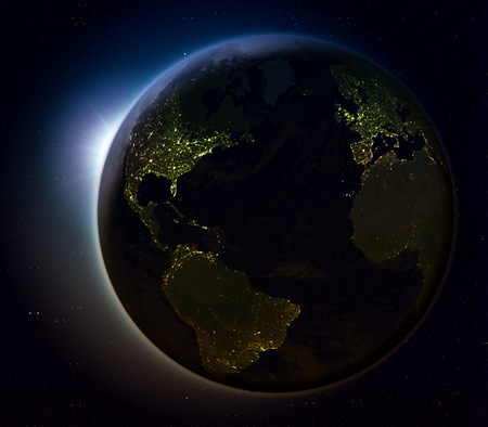 Sun rising above Northern Hemisphere on planet Earth as seen from space. 3D illustration with actual city lights illuminating the surface. Elements of this image furnished by NASA. Stock Photo