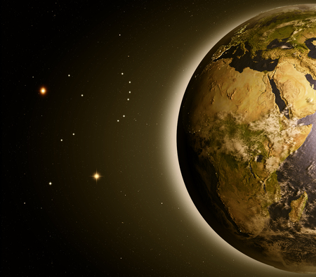 orbiting: Africa at dawn from Earths orbit in space. 3D illustration with detailed planet surface. Stock Photo