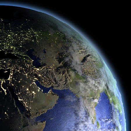 orbiting: Middle East at dawn from Earths orbit in space. 3D illustration with detailed planet surface.