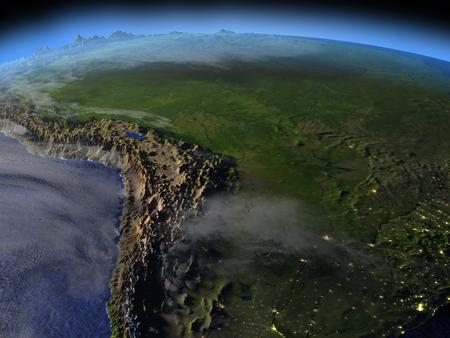 夜の空間で地球の軌道から見たパンパ。詳細な惑星の表面に 3 D のイラスト。 写真素材