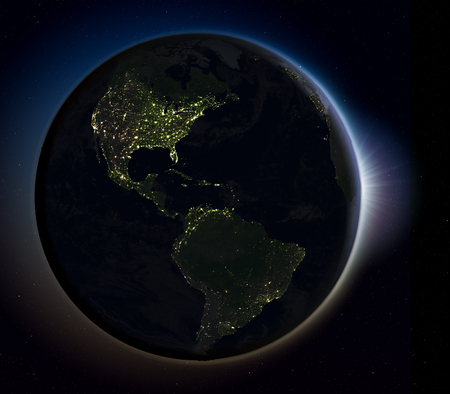 americas: Sun rising above Americas on planet Earth as seen from space. 3D illustration with actual city lights illuminating the surface. Stock Photo