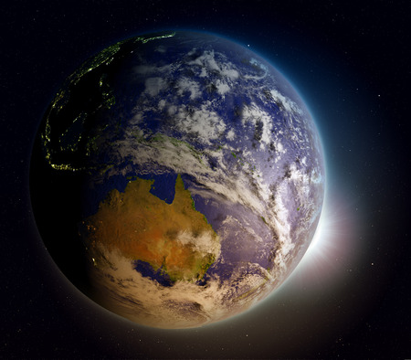 beginnings: Sunrise above planet Earth facing Australia. 3D illustration with extremely detailed planet surface.