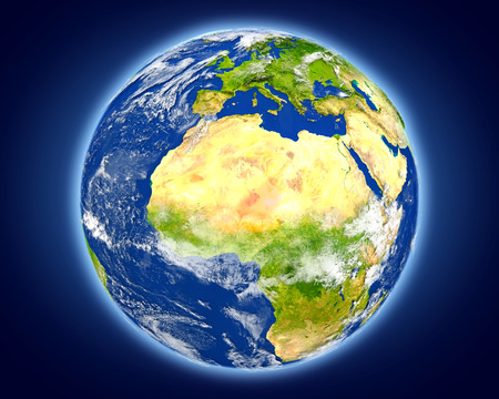 Niger highlighted in red on planet Earth. 3D illustration with detailed planet surface.