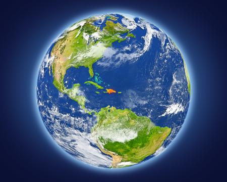 ドミニカ共和国は地球上の赤で強調表示されます。詳細な惑星の表面に 3 D のイラスト。