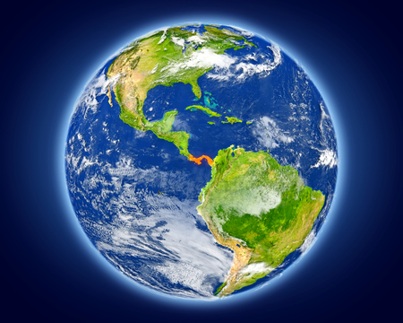 panamanian: Panama highlighted in red on planet Earth. 3D illustration with detailed planet surface. Stock Photo