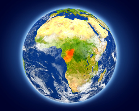 Congo highlighted in red on planet Earth. 3D illustration with detailed planet surface. Stock Photo