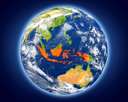 Indonesia highlighted in red on planet Earth. 3D illustration with detailed planet surface. Stock Photo