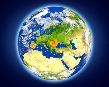 루마니아 행성 지구에 빨간색으로 강조 표시합니다. 자세한 행성 표면 3D 그림입니다.
