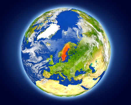 Sweden highlighted in red on planet Earth. 3D illustration with detailed planet surface. Stock Photo