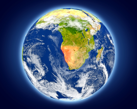 Namibia highlighted in red on planet Earth. 3D illustration with detailed planet surface.