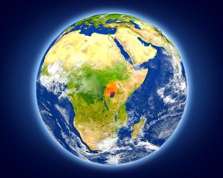 Oeganda is in rood op planeet Aarde gemarkeerd. 3D illustratie met gedetailleerde planeet oppervlak.