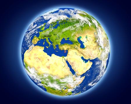 キプロスは地球上の赤で強調表示されます。詳細な惑星の表面に 3 D のイラスト。