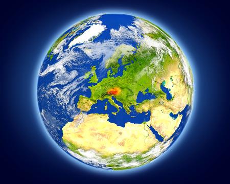 オーストリアは地球上の赤で強調表示されます。詳細な惑星の表面に 3 D のイラスト。