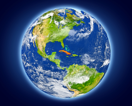 Cuba highlighted in red on planet Earth. 3D illustration with detailed planet surface.