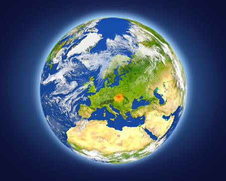 Slovakia highlighted in red on planet Earth. 3D illustration with detailed planet surface.