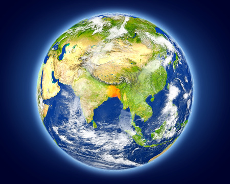 Bangladesh highlighted in red on planet Earth. 3D illustration with detailed planet surface.