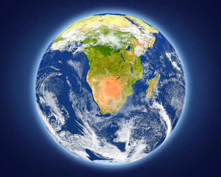 Botswana highlighted in red on planet Earth. 3D illustration with detailed planet surface.