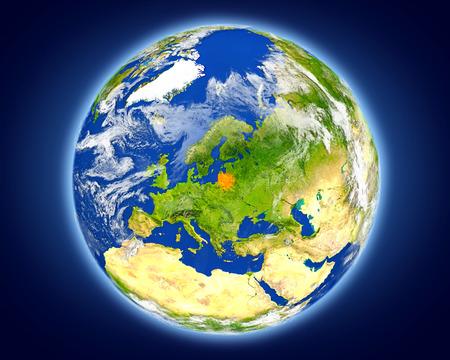 Litouwen in het rood gemarkeerd op de planeet aarde. 3D illustratie met gedetailleerd planeetoppervlak.