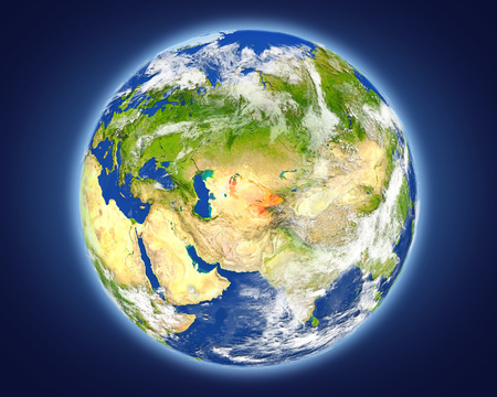 Uzbekistan highlighted in red on planet Earth. 3D illustration with detailed planet surface. Stock Photo