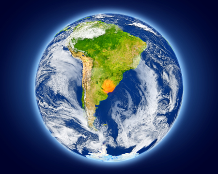 Uruguay highlighted in red on planet Earth. 3D illustration with detailed planet surface. Imagens