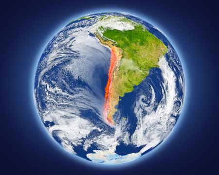Chile highlighted in red on planet Earth. 3D illustration with detailed planet surface.
