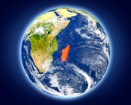 Madagascar highlighted in red on planet Earth. 3D illustration with detailed planet surface. Stock Photo