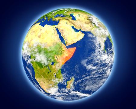Somalië gemarkeerd in het rood op de planeet aarde. 3D illustratie met gedetailleerd planeetoppervlak.