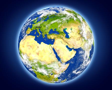 Jordanië gemarkeerd in het rood op de planeet aarde. 3D illustratie met gedetailleerd planeetoppervlak. Stockfoto