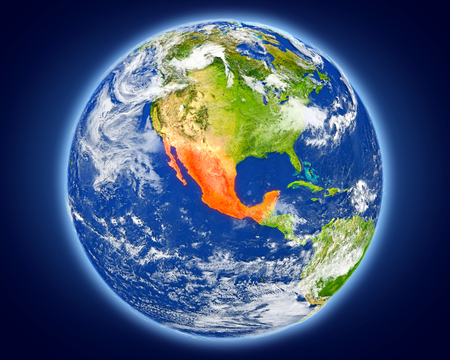 Mexico highlighted in red on planet Earth. 3D illustration with detailed planet surface. Stock Photo