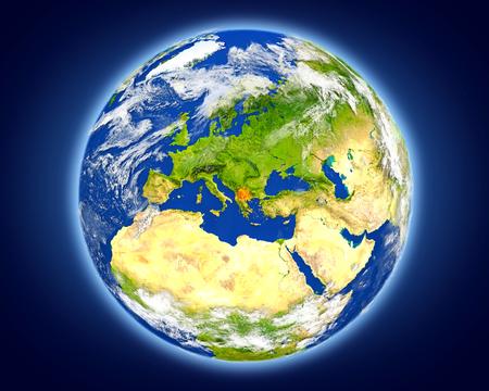 Macedonië gemarkeerd in het rood op de planeet aarde. 3D illustratie met gedetailleerde planeet oppervlak.