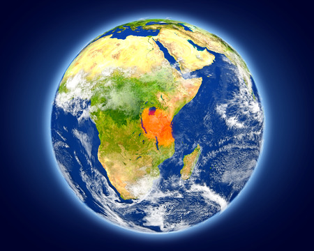 Tanzania highlighted in red on planet Earth. 3D illustration with detailed planet surface.
