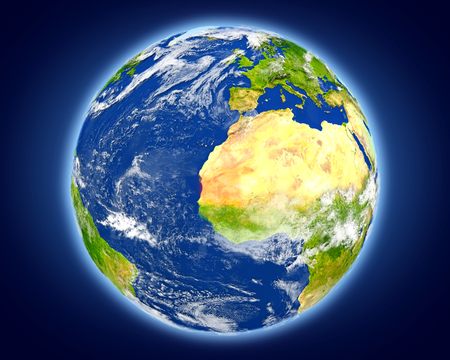 Mauritania highlighted in red on planet Earth. 3D illustration with detailed planet surface.