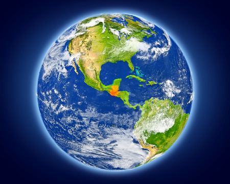 guatemalan: Guatemala highlighted in red on planet Earth. 3D illustration with detailed planet surface. Stock Photo