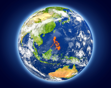 Philippines highlighted in red on planet Earth. 3D illustration with detailed planet surface.