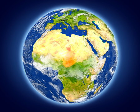 Chad highlighted in red on planet Earth. 3D illustration with detailed planet surface.