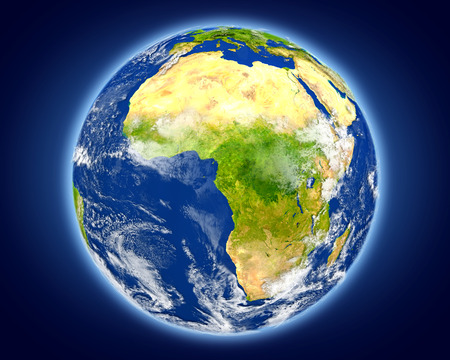 Gabon highlighted in red on planet Earth. 3D illustration with detailed planet surface. Stock Photo