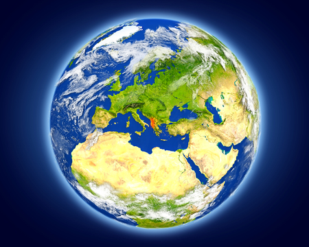 Albania highlighted in red on planet Earth. 3D illustration with detailed planet surface.