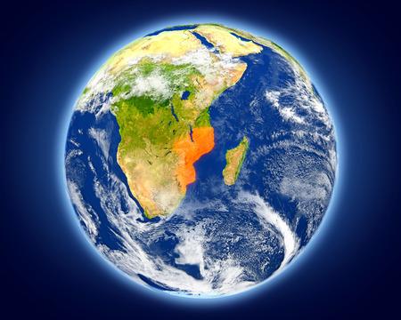 Mosambik rot auf dem Planeten Erde hervorgehoben. Illustration 3D mit ausführlicher Planetenoberfläche. Standard-Bild - 80702250