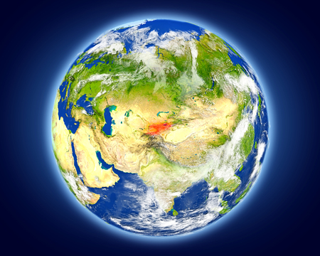 Kyrgyzstan highlighted in red on planet Earth. 3D illustration with detailed planet surface.