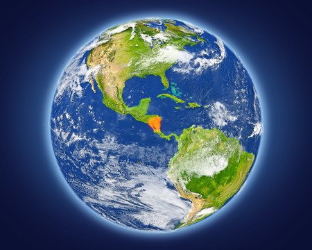 Nicaragua highlighted in red on planet Earth. 3D illustration with detailed planet surface. Stock Photo