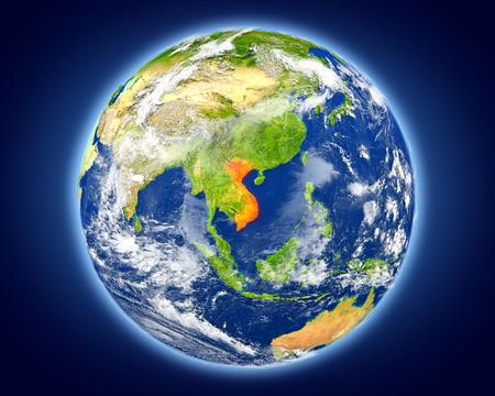 베트남 행성 지구에 빨간색으로 강조 표시됩니다. 자세한 행성 표면 3D 그림입니다.