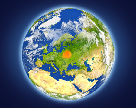 Belarus highlighted in red on planet Earth. 3D illustration with detailed planet surface.