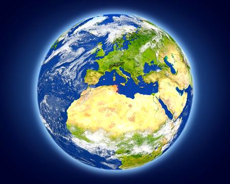 チュニジアは地球上の赤で強調表示されます。詳細な惑星の表面に 3 D のイラスト。