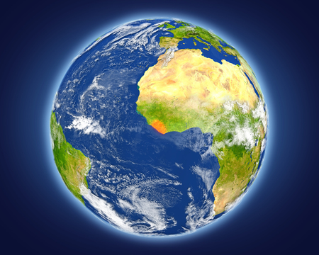 Liberia highlighted in red on planet Earth. 3D illustration with detailed planet surface. Stock Photo
